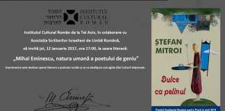 Stefan Mitroi Dulce ca Pelinul Mihai Eminescu Ziua Culturii Nationale
