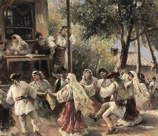 Theodor Aman - Hora de la Aninoasa Dragobete dans popular romanesc sarbatoarea dragostei