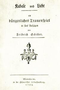 pagina de garda kabale und liebe schiiller editia princeps 1784