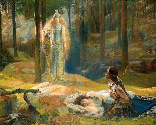 """Gaston Bussière, """"Revelația – Brünnhilde descoperindu-i pe Sieglinde și Siegmund"""""""
