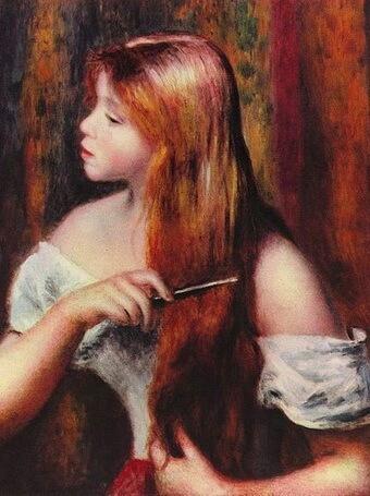 """Auguste Renoir, """"Fată pieptănându-și părul, 1894"""