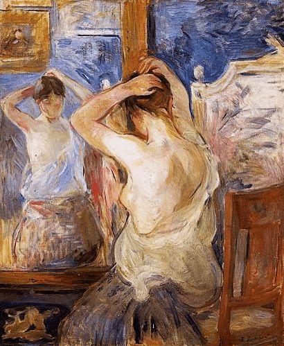 "Berthe Morisot, ""Femeie în fața oglinzii, 1890"