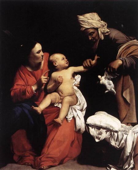 """Carlo Saraceni, """"Fecioara cu pruncul și Sf. Ana, 1610- Madonna and Child with St Anne. 1610. Oil on canvas. 180 x 155 cm. Galleria Nazionale d Arte Antica, Rome, Italy"""