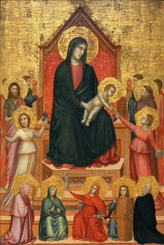 The Virgin and Child with Saints and Allegorical Figures, about 1315–20, Giotto di Bondone