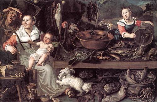 """Vincenzo Campi, """"Vânzătoare de pește"""", c. 1580"""
