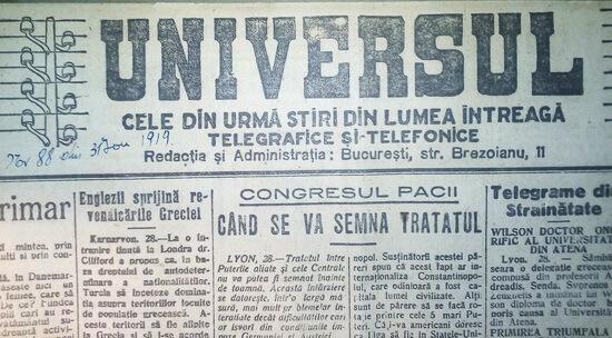 ziarul univesrul 1919