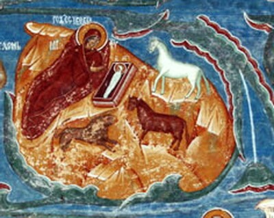 Nasterea Domnului, fragment frescă, Biserica Mănăstirii Voroneț, secolul XVI