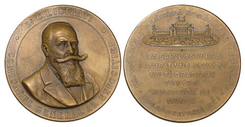 Medalie dedicată comisarului general al expoziției, dr. C. I. Istrati