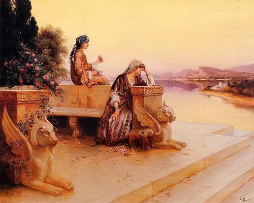 """Ernst Rudolph, """"Femei arabe elegante pe terasă la apus de soare"""""""