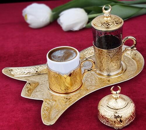 Set de cafea cu poleială de aur, lucrare manuală