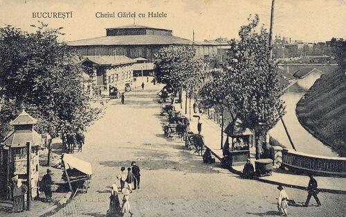 București, Hala Unirii și Dâmbovița, 1910