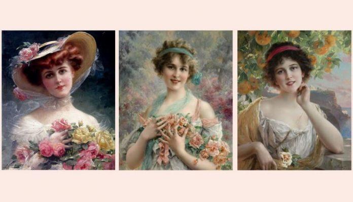 "urfet sachir femeia Portrete de Émile Vernon 1872–1919 ""Frumusețe florală"", ""Fată cu trandafir"", .""Frumusețe sub trandafir""jpg"