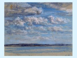 """Dori Lederer Eugène Boudin, """"Nori albi, cer albastru"""", pastel pe hârtie, 1854–1859,Muzeul Eugène Boudin, Honfleur, Franța. Foto H. Brauner"""