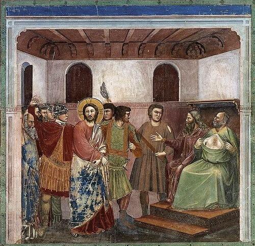 "Giotto di Bondone. ""Scene din viața lui Iisus Iisus în fața lui Caiafa"", frescă, 1304–1306, Capela Scrovegni, Padova"