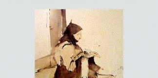 """Nicolae Tonitza, """"Portret de bătrână"""", sepia laviu pe hârtie ocru caşerată de carton, Muzeul de Artă Tulcea"""