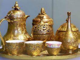 Tavă cu tacamurile de servit cafeaua urfet sachir traditiones leviathan.ro