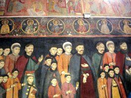 """Tablou votiv pictat de Pârvu Mutu în Biserica """"Sfinții Trei Ierarhi"""" din Filipeștii de Pădure, jud. Prahova"""