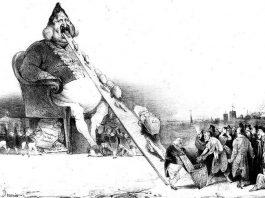 """Honoré Daumier, """"Gargantua"""", litografie, 1831"""